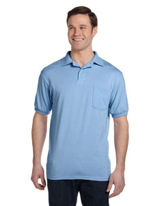 Light Blue 5.2 oz., 50/50 EcoSmart® Jersey Pocket Polo