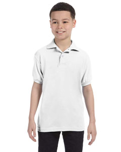 White Youth 5.2 oz., 50/50 ComfortBlend® EcoSmart® Jersey Knit Polo