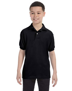 Black Youth 5.2 oz., 50/50 ComfortBlend® EcoSmart® Jersey Knit Polo