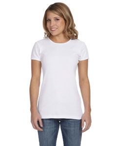 White Women's Baby Rib Short-Sleeve T-Shirt