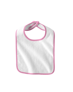 White/pink Infant Terry Snap Bib