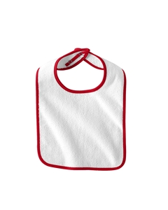 White/red Infant Terry Snap Bib