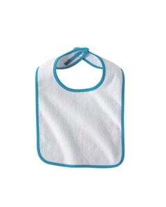 White/light Blue Infant Terry Snap Bib