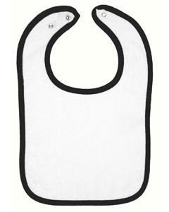 White/black Infant Terry Snap Bib