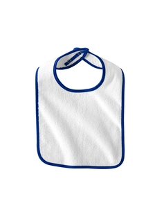 White/royal Infant Terry Snap Bib
