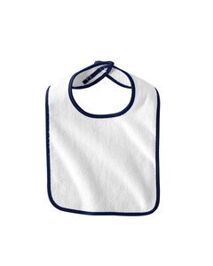 White/navy Infant Terry Snap Bib