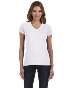White Women's 1x1 Baby Rib Short-Sleeve V-Neck T-Shirt