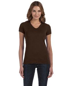 Chocolate Women's 1x1 Baby Rib Short-Sleeve V-Neck T-Shirt