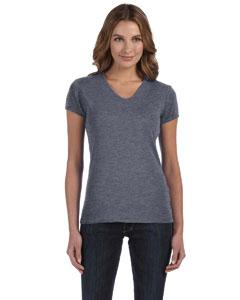 Deep Heather Women's 1x1 Baby Rib Short-Sleeve V-Neck T-Shirt