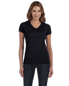 Black Women's 1x1 Baby Rib Short-Sleeve V-Neck T-Shirt