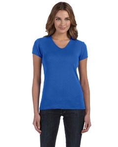 True Royal Women's 1x1 Baby Rib Short-Sleeve V-Neck T-Shirt