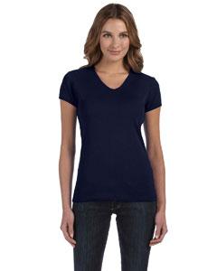Navy Women's 1x1 Baby Rib Short-Sleeve V-Neck T-Shirt
