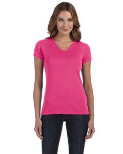 Raspberry Women's 1x1 Baby Rib Short-Sleeve V-Neck T-Shirt