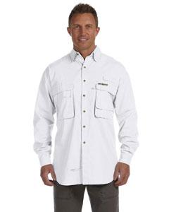 White Men's Gulf Stream Long-Sleeve Fishing Shirt