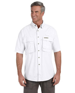 White Men's Gulf Stream Short-Sleeve Fishing Shirt