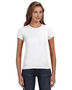 White Women's Combed Ringspun 1x1 Rib Scoop Neck T-Shirt