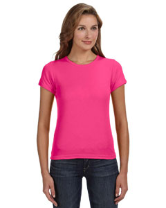 Hot Pink Women's Combed Ringspun 1x1 Rib Scoop Neck T-Shirt