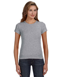 Heather Grey Women's Combed Ringspun 1x1 Rib Scoop Neck T-Shirt
