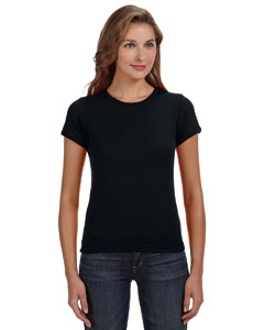Black Women's Combed Ringspun 1x1 Rib Scoop Neck T-Shirt