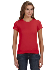Red Women's Combed Ringspun 1x1 Rib Scoop Neck T-Shirt
