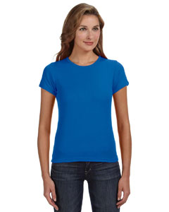 Royal Blue Women's Combed Ringspun 1x1 Rib Scoop Neck T-Shirt