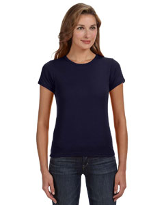 Navy Women's Combed Ringspun 1x1 Rib Scoop Neck T-Shirt
