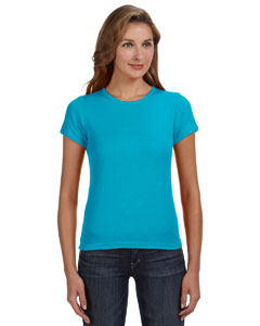 Caribbean Blue Women's Combed Ringspun 1x1 Rib Scoop Neck T-Shirt