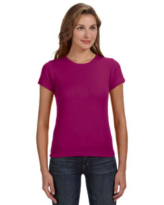 Raspberry Women's Combed Ringspun 1x1 Rib Scoop Neck T-Shirt