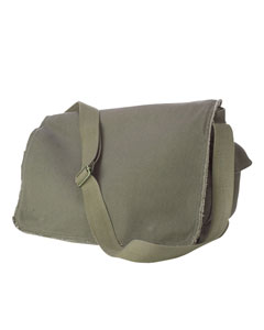 Khaki Green 14 oz. Pigment-Dyed Raw-Edge Messenger Bag