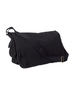 Black 14 oz. Pigment-Dyed Raw-Edge Messenger Bag