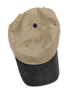 Khaki/black Pigment-Dyed Baseball Cap