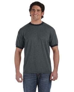Black 6 oz. Direct-Dyed Heather Ringer T-Shirt