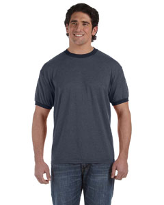 Navy 6 oz. Direct-Dyed Heather Ringer T-Shirt