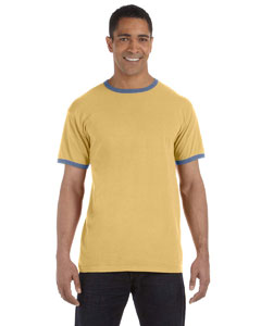 Mustard/blue 5.6 oz. Pigment-Dyed Ringer T-Shirt
