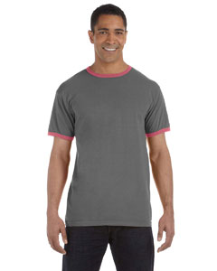 Smoke/red 5.6 oz. Pigment-Dyed Ringer T-Shirt