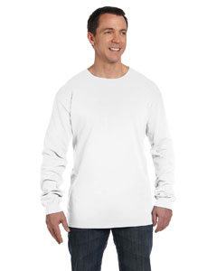 White 5.6 oz. Pigment-Dyed & Direct-Dyed Ringspun Long-Sleeve T-Shirt