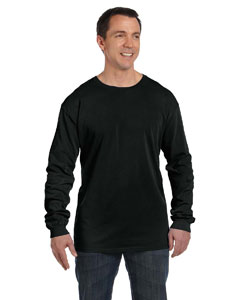 Deep Black 5.6 oz. Pigment-Dyed & Direct-Dyed Ringspun Long-Sleeve T-Shirt