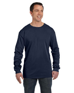 Deep Navy 5.6 oz. Pigment-Dyed & Direct-Dyed Ringspun Long-Sleeve T-Shirt