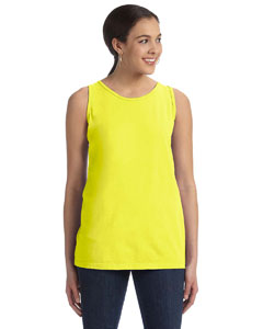 Neon Yellow Women's' 5.6 oz. Pigment-Dyed & Direct-Dyed Ringspun Tank
