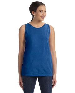 Neon Dark Blue Women's' 5.6 oz. Pigment-Dyed & Direct-Dyed Ringspun Tank