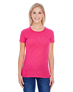 Hot Pink Slub Ladies' Slub Jersey Short-Sleeve Tee