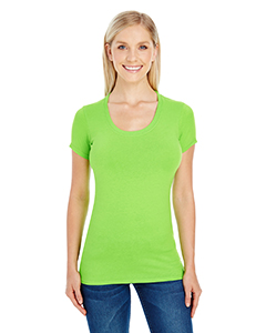 Active Green Ladies' Spandex Short-Sleeve Scoop Neck Tee