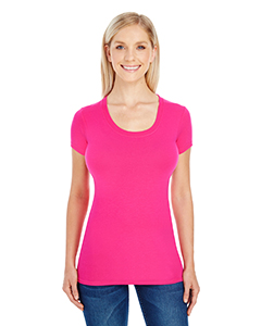Active Pink Ladies' Spandex Short-Sleeve Scoop Neck Tee