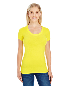 Active Yellow Ladies' Spandex Short-Sleeve Scoop Neck Tee