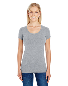 Active Hthr Grey Ladies' Spandex Short-Sleeve Scoop Neck Tee