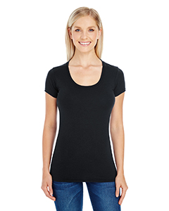 Active Black Ladies' Spandex Short-Sleeve Scoop Neck Tee