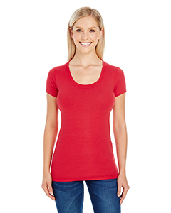 Active Red Ladies' Spandex Short-Sleeve Scoop Neck Tee