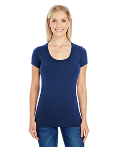 Active Navy Ladies' Spandex Short-Sleeve Scoop Neck Tee