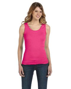 Hot Pink Women's Combed Ringspun 2x1 Rib Tank Top
