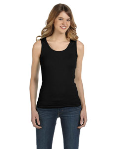 Black Women's Combed Ringspun 2x1 Rib Tank Top
